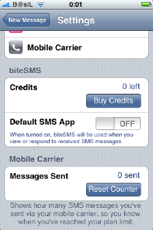 biteSMS iPhone settings 2