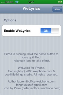 weLyrics settings screenshot