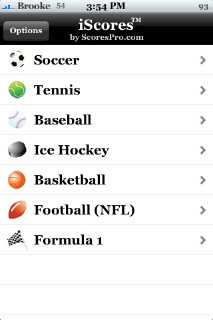 iScores live score for iPhone