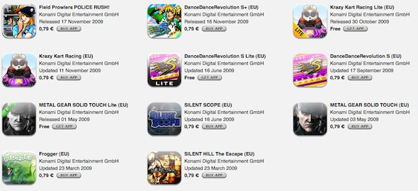 Konami discounts all App store games to 0.79€ this time for Europe!