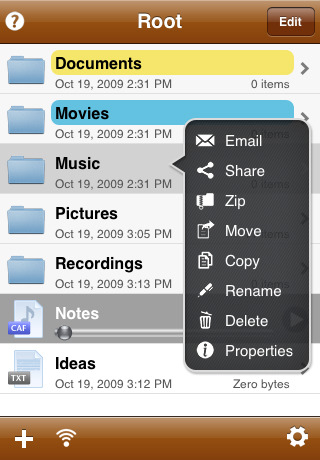 iFiles portable file management system for the iPhone