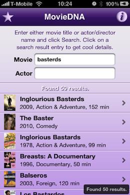 MovieDNA iPhone Appstore