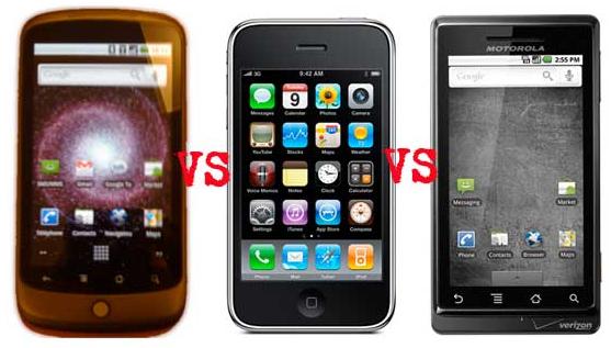 Nexus vs iPhone 3GS vs Motorola Droid