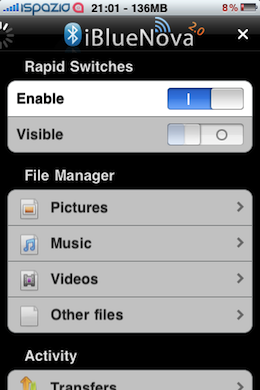 iBlueNova aka iBluetooth for iPhone