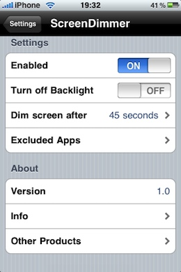ScreenDimmer iPhone Battery