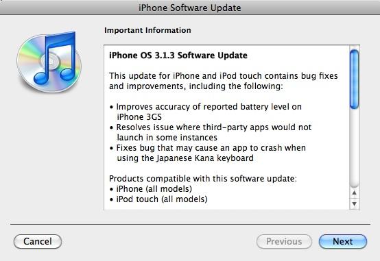 iPhone v3.1.3 changelog