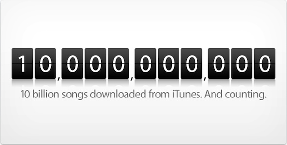 iTunes Music Store Reaches 10 Billion Downloads