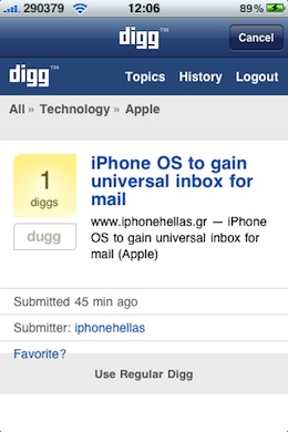 Digg iPhone App store