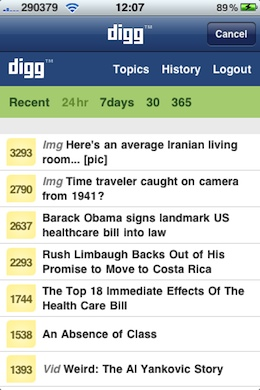 Digg iPhone app