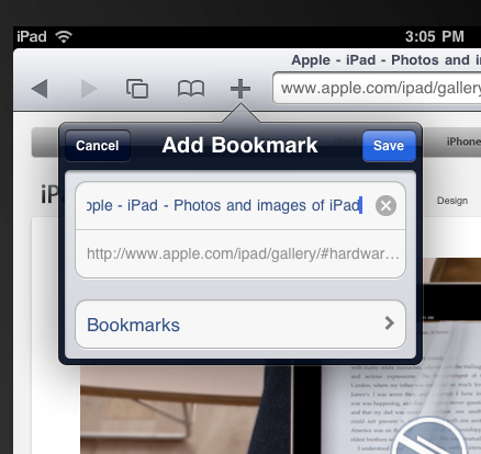 iPad Bookmark button