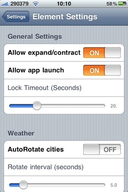 Element lock screen Cydget settings