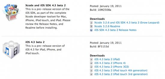 iOS 4.3 beta 2