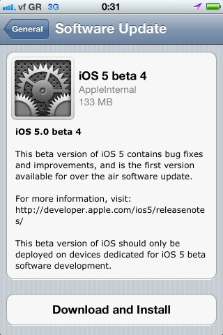iOS 5 beta 4 OVA update