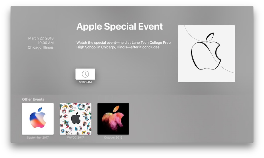 Apple special event 27 March 2018 no live stream