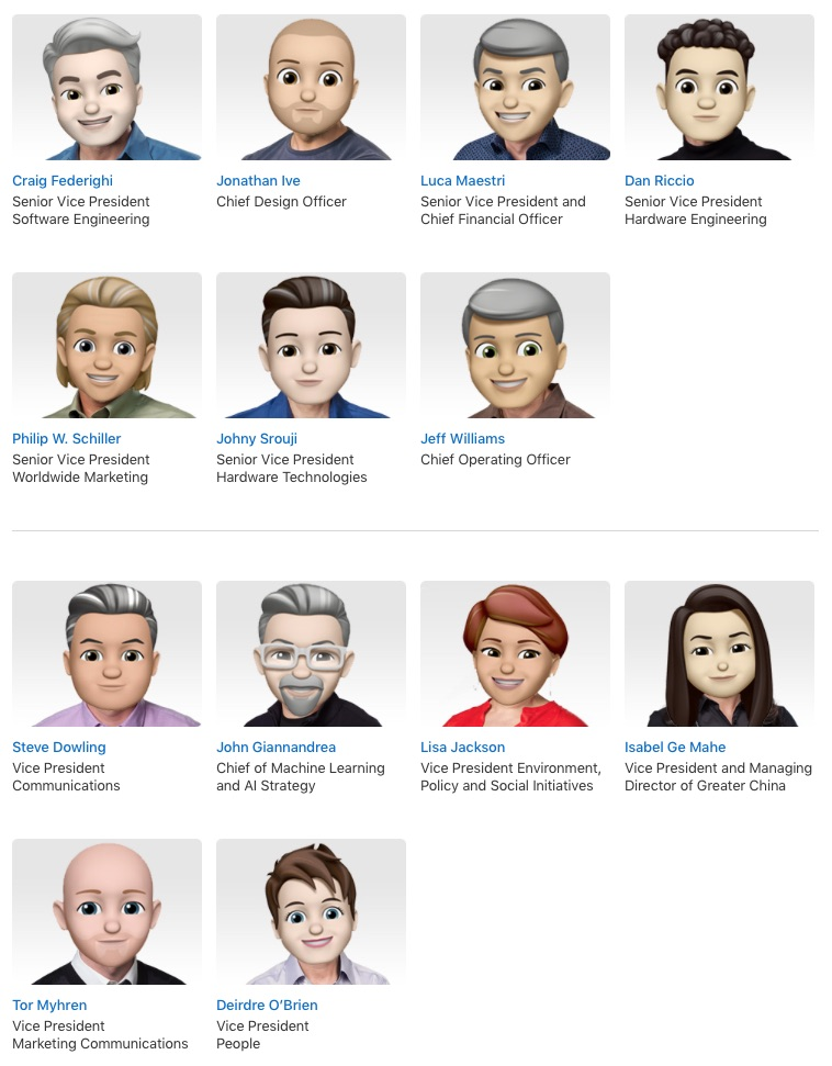 Apple Executive Profiles memoji