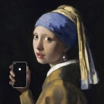 girl with a pearl earring and an iPhone after girl with a pearl earring by johannes vermeer 1665