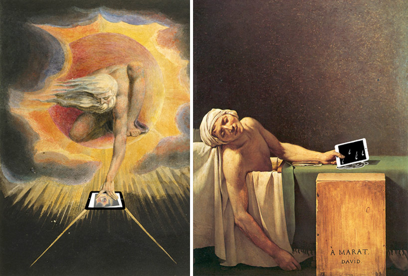 multi-touch zoom after the ancient of days by william blake, 1794 and don't take the iPad in the bathroom after the death of marat by jacques-louis david 1793